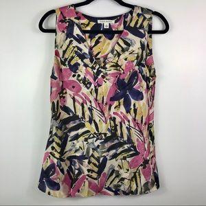 Banana Republic sleeveless V neck blouse side zip